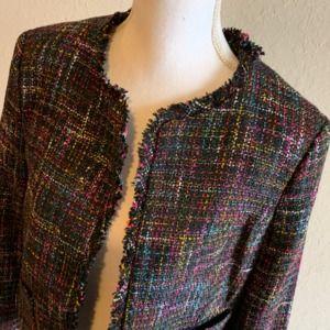 H&M Black Multicolor Tweed Jacket, Size 16